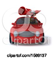 3d Funky Clown Driving A Convertible On A White Background