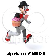 Clipart Of A 3d White And Black Clown Holding A Cupcake On A White Background Royalty Free Illustration