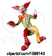 3d Funky Clown Holding A Steak On A White Background