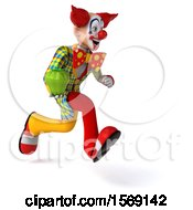 Clipart Of A 3d Funky Clown Holding A Bell Pepper On A White Background Royalty Free Illustration