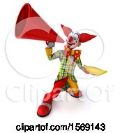 Clipart Of A 3d Funky Clown Holding A Banana On A White Background Royalty Free Illustration