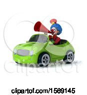 Clipart Of A 3d Colorful Clown Driving A Convertible On A White Background Royalty Free Illustration