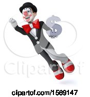 3d White And Black Clown Holding A Dollar Sign On A White Background