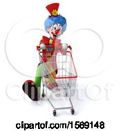 3d Colorful Clown With A Shopping Cart On A White Background