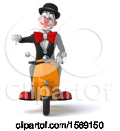 Clipart Of A 3d White And Black Clown Riding A Scooter On A White Background Royalty Free Illustration
