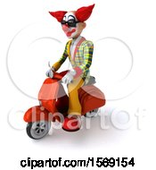 3d Funky Clown Riding A Scooter On A White Background