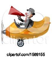 3d White And Black Clown Flying A Plane On A White Background