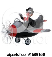 Clipart Of A 3d White And Black Clown Flying A Plane On A White Background Royalty Free Illustration