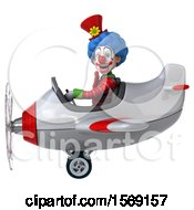Clipart Of A 3d Colorful Clown Flying A Plane On A White Background Royalty Free Illustration