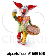 Clipart Of A 3d Funky Clown Holding A Pizza On A White Background Royalty Free Illustration