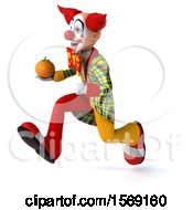 3d Funky Clown Holding An Orange On A White Background