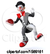 3d White And Black Clown Holding A Steak On A White Background