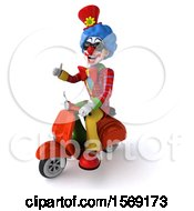 Clipart Of A 3d Colorful Clown Riding A Scooter On A White Background Royalty Free Illustration