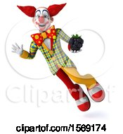 Clipart Of A 3d Funky Clown Holding A Blackberry On A White Background Royalty Free Illustration