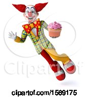 3d Funky Clown Holding A Cupcake On A White Background