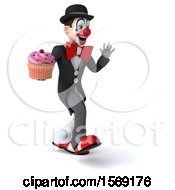 3d White And Black Clown Holding A Cupcake On A White Background