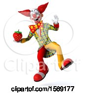 3d Funky Clown Holding A Strawberry On A White Background