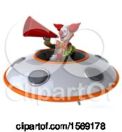 3d Funky Clown Flying A Ufo On A White Background