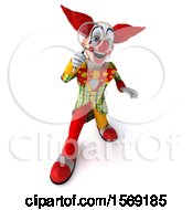 Clipart Of A 3d Funky Clown Using A Magnifying Glass On A White Background Royalty Free Illustration