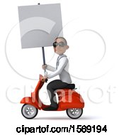 Clipart Of A 3d Black Male Doctor Riding A Scooter On A White Background Royalty Free Illustration