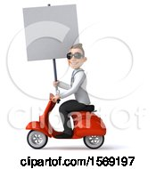 Clipart Of A 3d White Male Doctor Riding A Scooter On A White Background Royalty Free Illustration