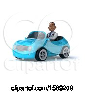 Clipart Of A 3d Black Male Doctor Driving A Convertible On A White Background Royalty Free Illustration