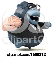 Clipart Of A 3d Business Gorilla Holding A Brain On A White Background Royalty Free Illustration by Julos