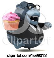 Clipart Of A 3d Business Gorilla Holding A Cupcake On A White Background Royalty Free Illustration by Julos