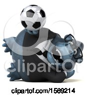 Clipart Of A 3d Business Gorilla Holding A Soccer Ball On A White Background Royalty Free Illustration by Julos