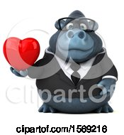 Poster, Art Print Of 3d Business Gorilla Holding A Heart On A White Background