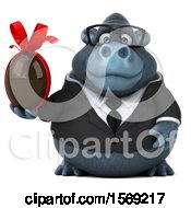 Clipart Of A 3d Business Gorilla Holding A Chocolate Egg On A White Background Royalty Free Illustration by Julos