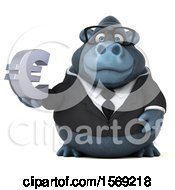 Clipart Of A 3d Business Gorilla Holding A Euro On A White Background Royalty Free Illustration by Julos