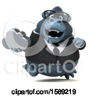 Clipart Of A 3d Business Gorilla Holding A Cloud On A White Background Royalty Free Illustration by Julos