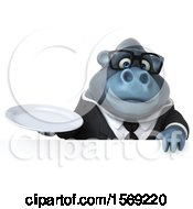 Clipart Of A 3d Business Gorilla Holding A Plate On A White Background Royalty Free Illustration by Julos