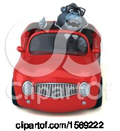 Clipart Of A 3d Business Gorilla Driving A Convertible On A White Background Royalty Free Illustration by Julos
