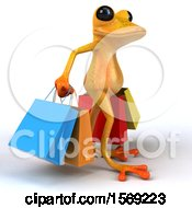 3d Yellow Frog Carrying Shopping Bags On A White Background