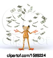 Clipart Of A 3d Yellow Frog Making It Rain Money On A White Background Royalty Free Illustration