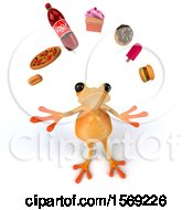3d Fat Yellow Frog Juggling Junk Food On A White Background