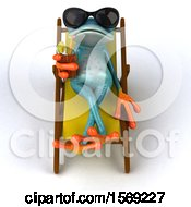 Poster, Art Print Of 3d Blue Frog Drinking A Beverage In A Chaise Lounge On A White Background