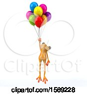 3d Yellow Frog Floating With Balloons On A White Background