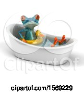 3d Blue Frog Wearing An Inner Tube In A Tub On A White Background