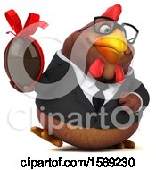 Poster, Art Print Of 3d Brown Business Chicken Holding A Chocolate Egg On A White Background
