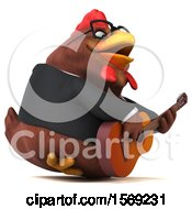 3d Brown Business Chicken Holding A Guitar On A White Background