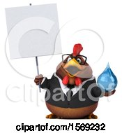 Clipart Of A 3d Brown Business Chicken Holding A Water Drop On A White Background Royalty Free Illustration