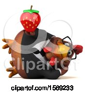 Poster, Art Print Of 3d Brown Business Chicken Holding A Strawberry On A White Background