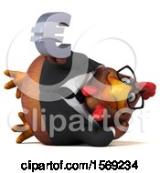 Clipart Of A 3d Brown Business Chicken Holding A Euro On A White Background Royalty Free Illustration