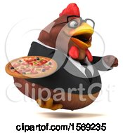 Poster, Art Print Of 3d Brown Business Chicken Holding A Pizza On A White Background