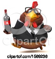 Clipart Of A 3d Brown Business Chicken Holding Wine On A White Background Royalty Free Illustration
