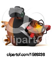 Poster, Art Print Of 3d Brown Business Chicken Holding A Camera On A White Background