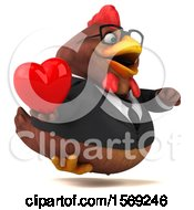 Clipart Of A 3d Brown Business Chicken Holding A Heart On A White Background Royalty Free Illustration
